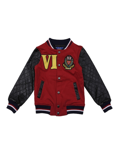 Lilliput Boys Red Printed Lightweight Open Front Jacket