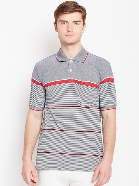 Monte Carlo Men Black & White Striped Polo Collar T-shirt