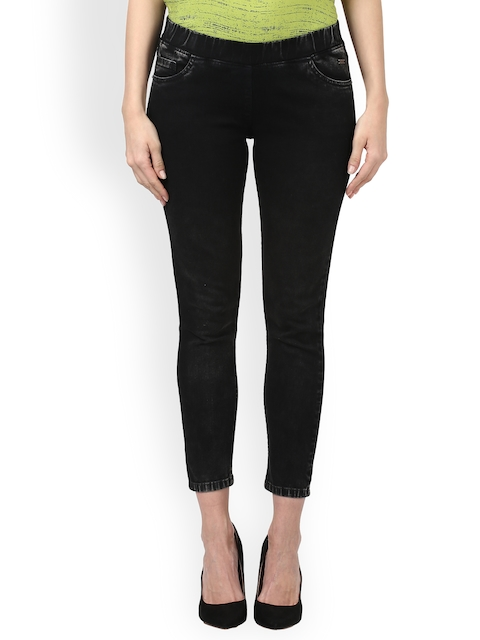 Park Avenue Women Black Skinny Fit Mid-Rise Clean Look Jeans