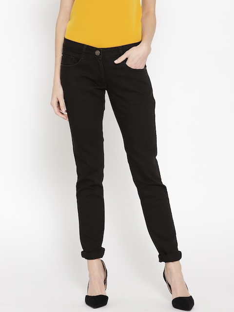 Park Avenue Women Black Power Skinny Fit Mid-Rise Clean Look Stretchable Jeans