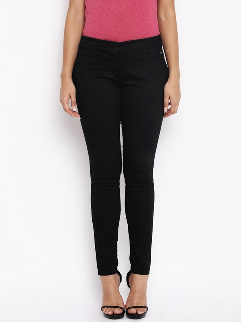 Park Avenue Women Black Tapered Fit Solid Formal Trousers