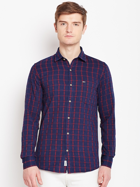 Monte Carlo Men Navy Blue & Red Checked Casual Shirt