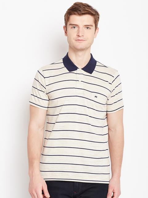Monte Carlo Men Beige & Navy Striped Polo Collar T-shirt