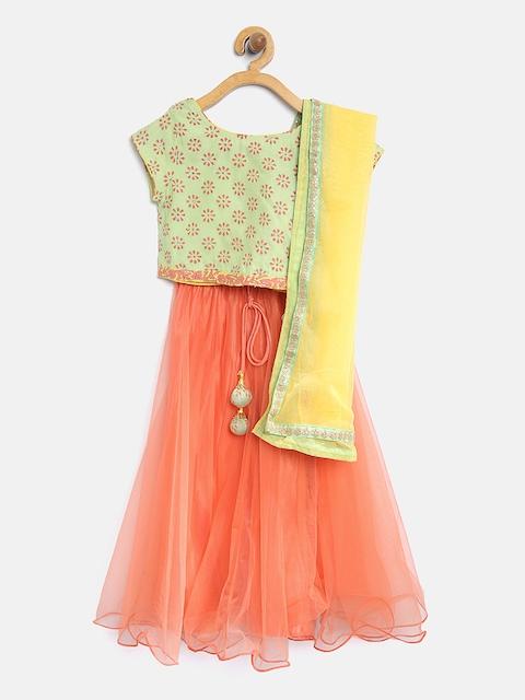 Biba Girls Green & Orange Printed Ready to Wear Lehenga & Blouse with Dupatta