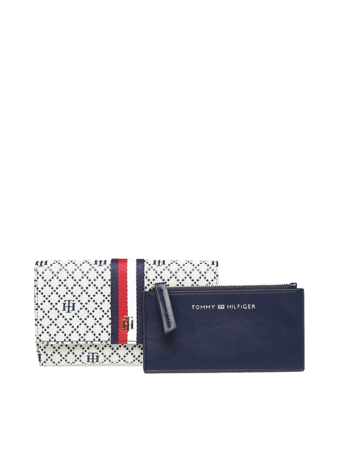 Tommy Hilfiger Women Off-White & Navy Blue Self Design Two Fold Wallet with Pouch
