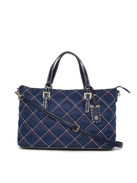 Tommy Hilfiger Women Navy Blue Quilted Handheld Bag