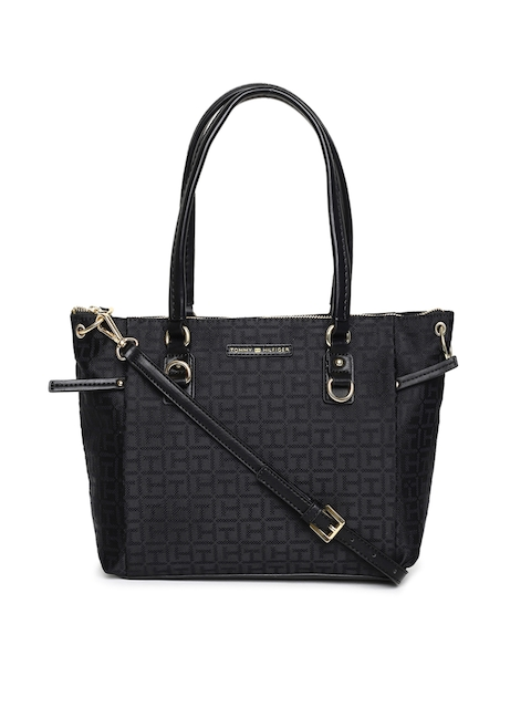 Tommy Hilfiger Grey & Black Self Design Shoulder Bag