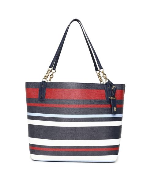 Tommy Hilfiger Navy Blue & Red Striped Shoulder Bag