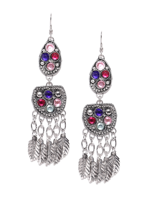 Chika Oxidised Silver-Toned & Pink Stone-Studded Drop Earrings