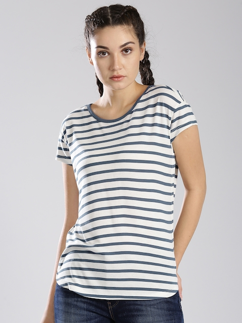 Levis Women Blue Striped T-shirt
