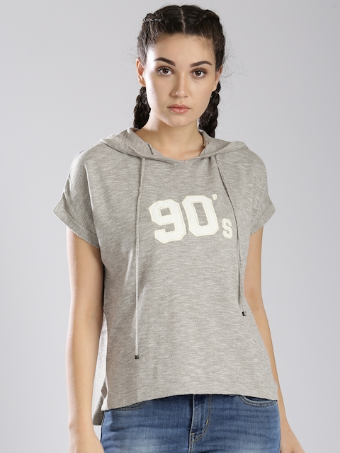 Levis Women Grey Hooded T-shirt