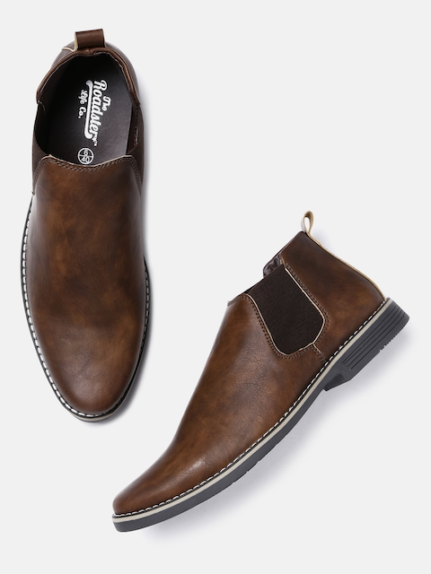 Roadster Men Tan Brown Solid Synthetic Mid-Top Flat Boots