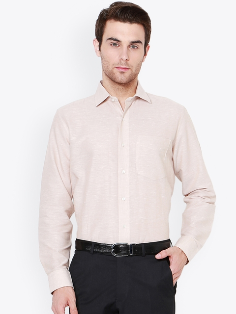 Van Heusen Men Beige Slim Fit Self Design Formal Shirt