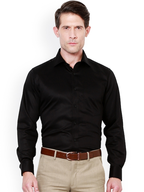 Van Heusen Men Black Slim Fit Solid Formal Shirt