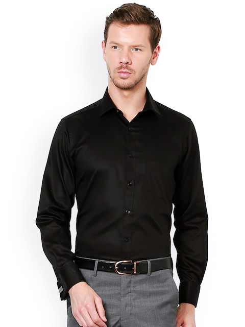 Van Heusen Men Black Regular Fit Solid Formal Shirt