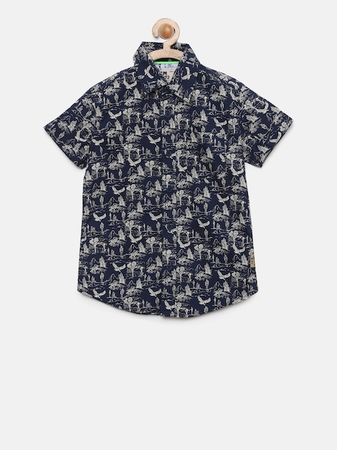 Flying Machine Boys Navy Blue Regular Fit Printed Casual Shirt
