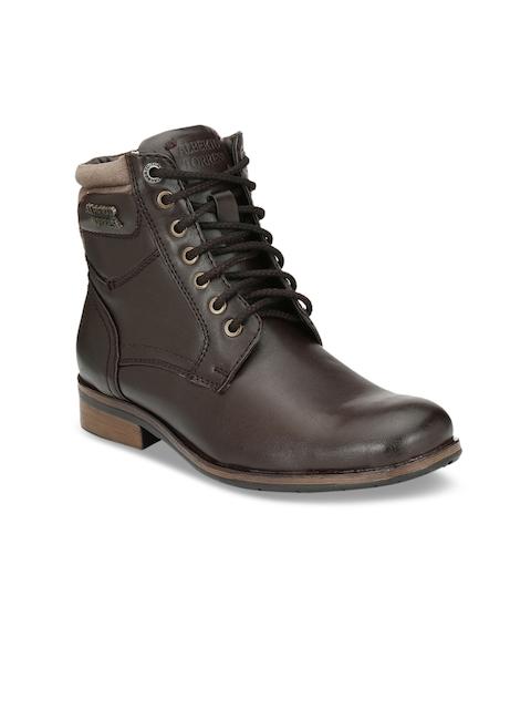 Alberto Torresi Men Brown Solid Synthetic High-Top Flat Boots