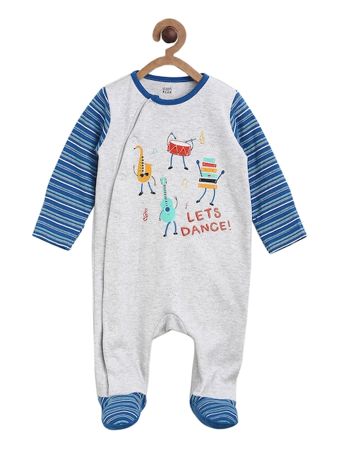 MINI KLUB Boys Blue Printed Sleepsuit