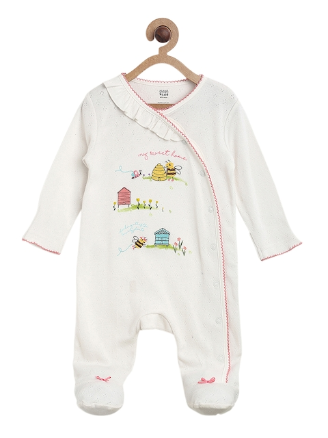 MINI KLUB Girls Off-White Printed Sleepsuit