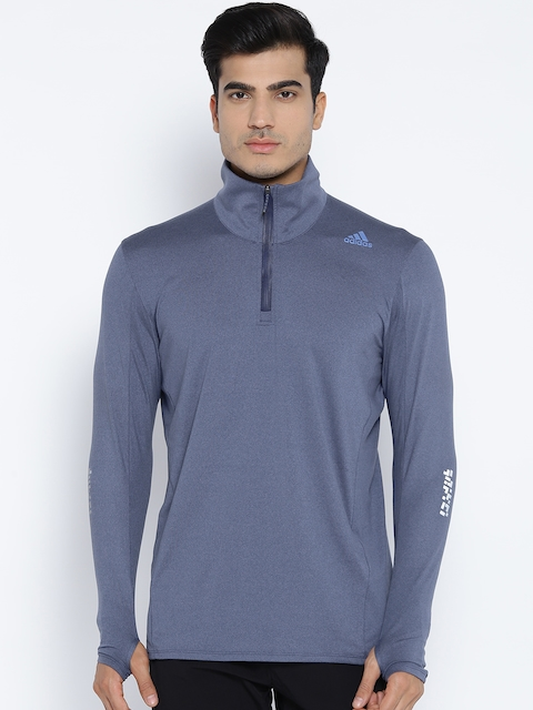Adidas Men Blue SN 1/2 Zip Solid Running Sweatshirt