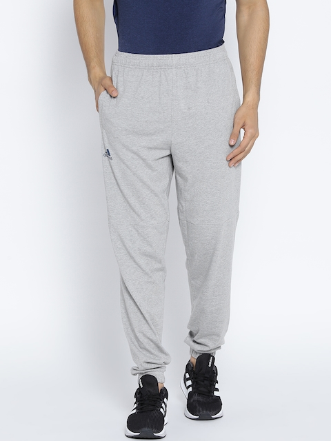Adidas Men Grey Melange ESS LIN T PN SJ Tapered Fit Joggers