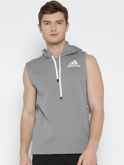 Adidas Men Grey Melange WO Sleeveless Hooded Training Sweatshirt