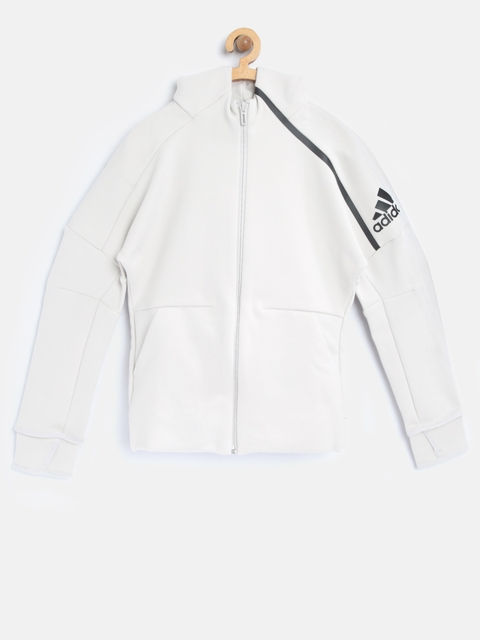Adidas Boys Grey YB ZNE 2.0 Hooded Training Jacket