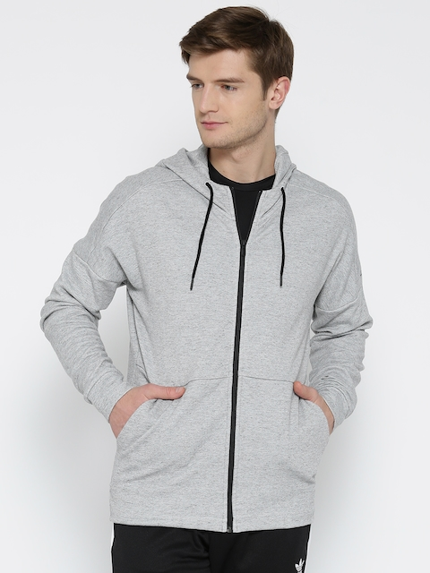 ADIDAS Men Grey Melange ID STADIUM FZ Solid Hooded Sweatshirt