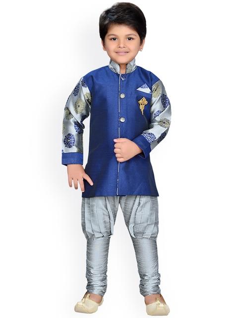 AJ Dezines Boys Grey & Blue Printed Sherwani