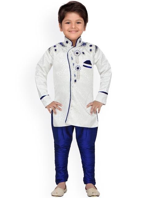 AJ Dezines Boys Blue & Off-White Sherwani