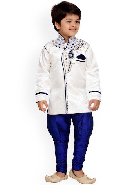 AJ Dezines Boys Blue & White Sherwani