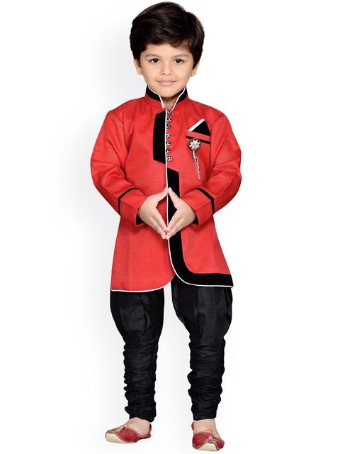 AJ Dezines Boys Red & Black Sherwani
