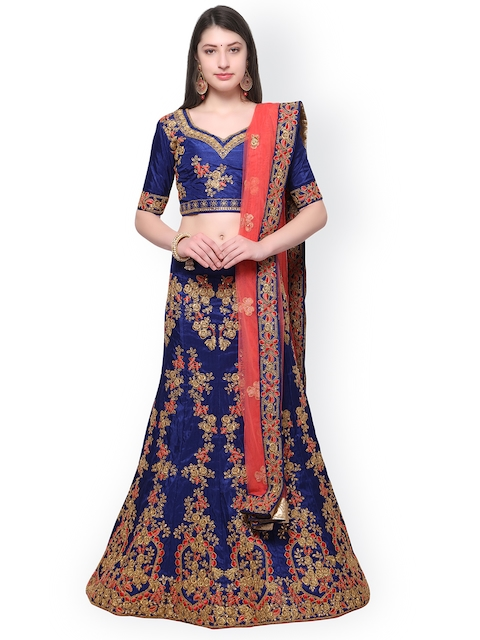 Aasvaa Navy Blue & Coral Embroidered Semi-Stitched Lehenga & Blouse with Dupatta