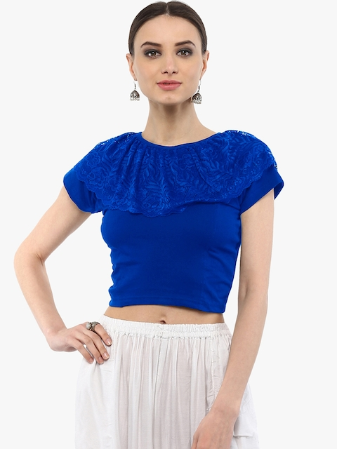 SALWAR STUDIO Women Blue Cotton Lycra Saree Blouse