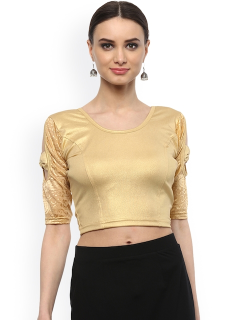 SALWAR STUDIO Women Gold Cotton Lycra Saree Blouse