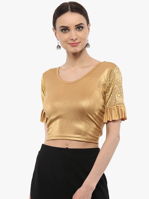 SALWAR STUDIO Women Gold Cotton Saree Blouse