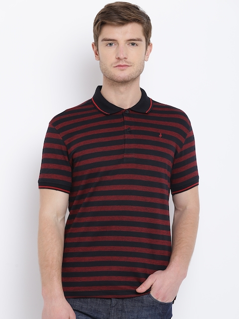 John Players Men Black & Red Striped Polo Collar T-shirt