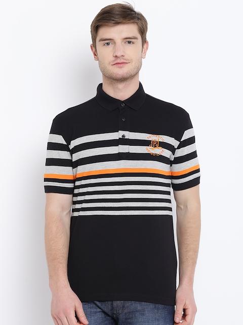 John Players Men Black & Grey Striped Polo Collar T-shirt