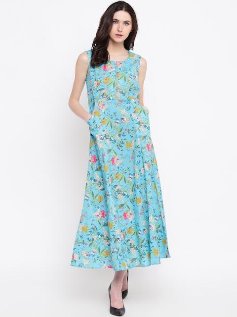 Biba Women Turquoise Blue & Pink Floral Print Maxi Dress