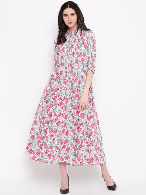 Biba Women Off-White & Pink Floral Print Maxi Dress