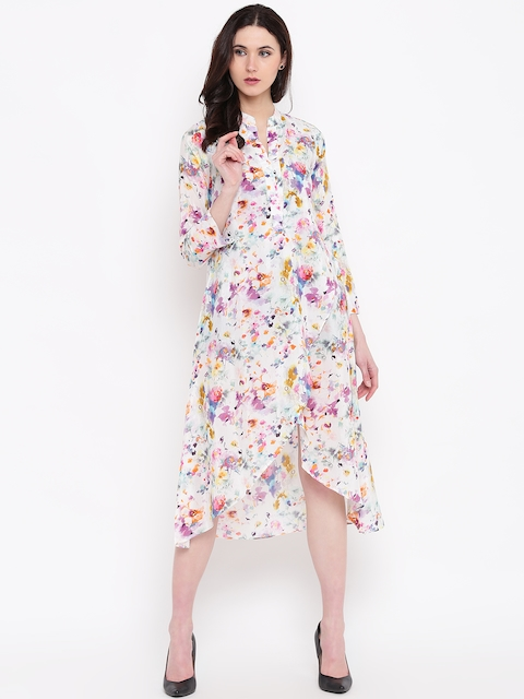 Biba Women Off-White & Pink Printed Midi A-Line Dress