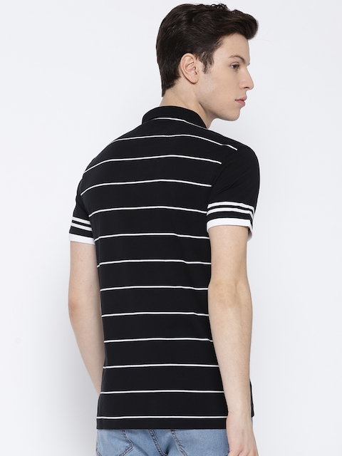 Levis Men Black & White Polo Collar T-shirt with Striped Back