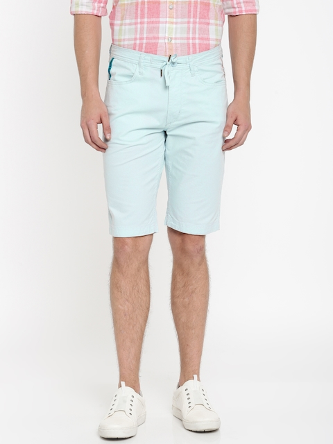 Lee Men Blue Solid Slim Fit Regular Shorts