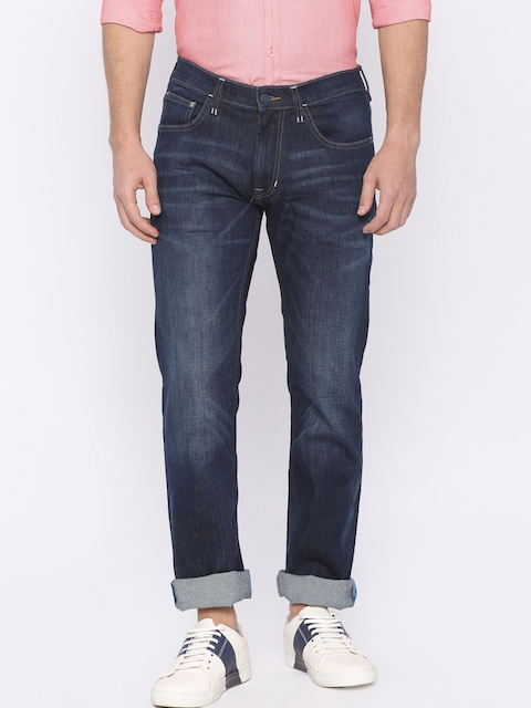 Lee Men Blue Powell Slim Fit Mid-Rise Clean Look Stretchable Jeans
