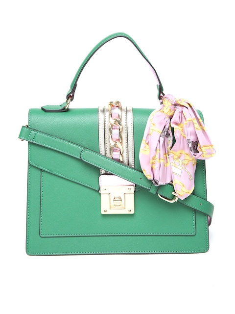ALDO Green Solid Satchel with Sling Strap