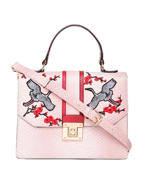 ALDO Pink Croc-Textured Embroidered Satchel