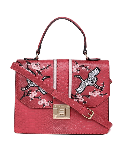 ALDO Red Croc-Textured Embroidered Satchel