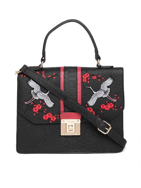 ALDO Black Croc-Textured Embroidered Satchel
