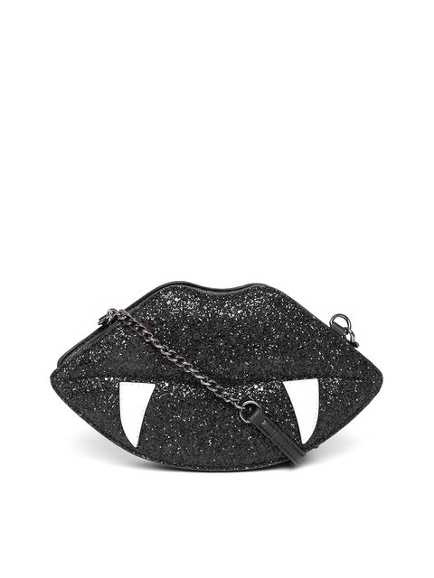 ALDO Black Embellished Lip-Shaped Sling Bag