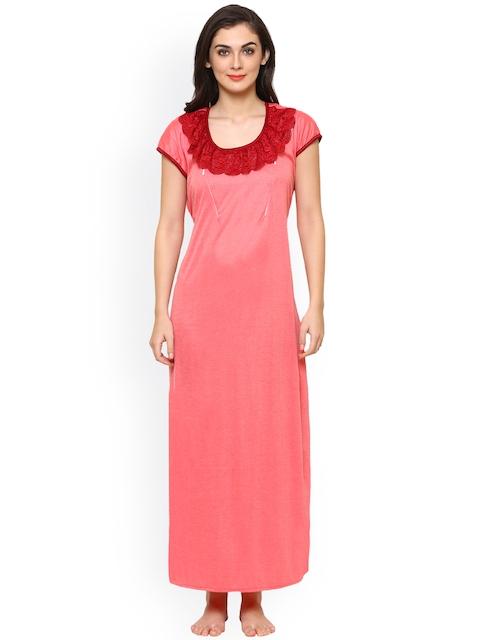 Klamotten Peach-Coloured & Maroon Solid Maternity Feeding Nightdress F226H